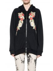 Black Embroidery Hooded Sweatshirt