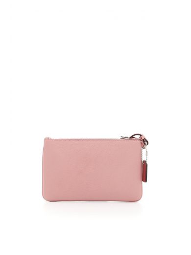 COACH Small Wristlet In Polished Pebble Leather With Western Rivets in : Silver/Pink