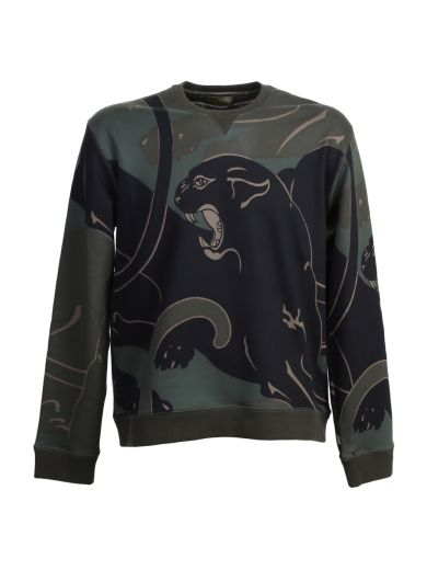 VALENTINO Panther Print Camouflage Cotton Sweater
