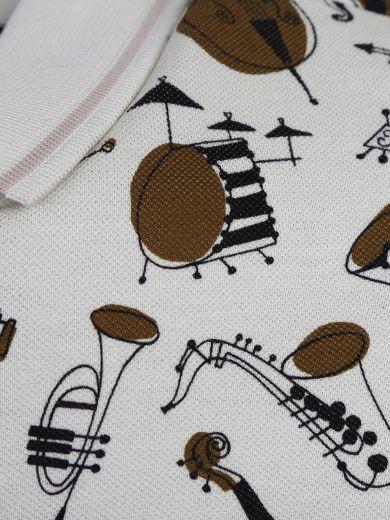 DOLCE & GABBANA Jazz Print Beige Cotton Zipped Polo