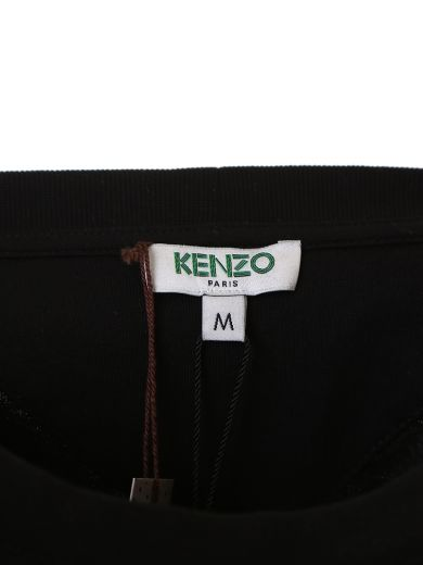 KENZO Black Cotton T-Shirt With Front Print