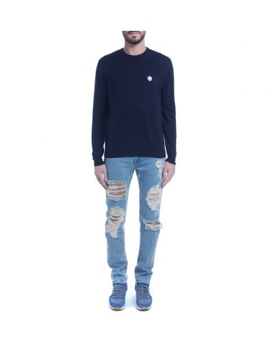 MSGM Blue Logo Jumper With Dice