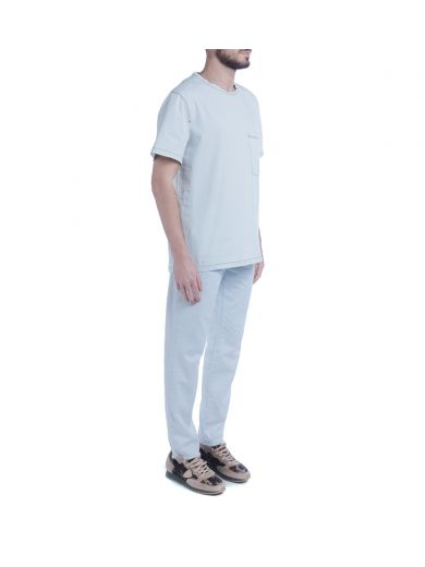 MSGM In Light Blue Chambray T-Shirt in Azzurro