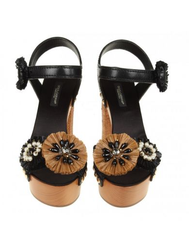 DOLCE & GABBANA Wooden And Raffia Sandals in Black