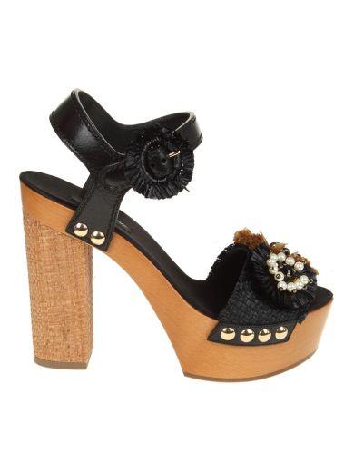 DOLCE & GABBANA Dolce & Gabbana Wooden And Raffia Sandals