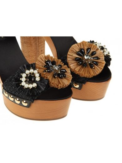 DOLCE & GABBANA Dolce & Gabbana Wooden And Raffia Sandals