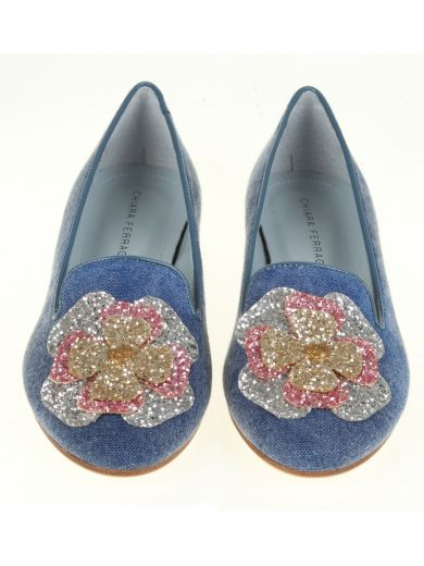 CHIARA FERRAGNI Pink Slip On With Applications in Blue