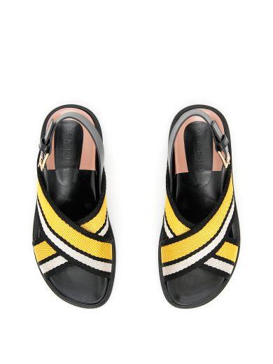 MARNI Fussbett Fabric Crossover Sandals