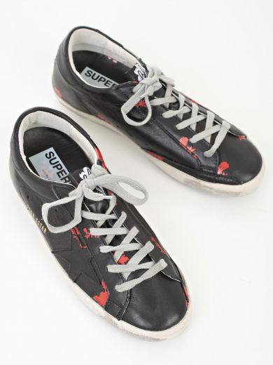 GOLDEN GOOSE Shoes in Bblack Leather Red Flower Printed
