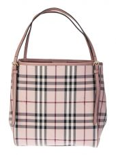 Pink Leather And Nylon Canter Horseferry Small Bag