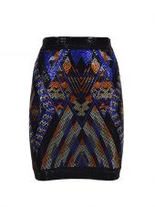 Balmain Stone Beaded Pattern Skirt