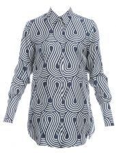 Blu Silk Pattern Shirt