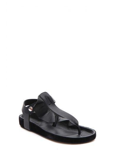 ISABEL MARANT Woman Leakey Ruffled Leather Sandals Black
