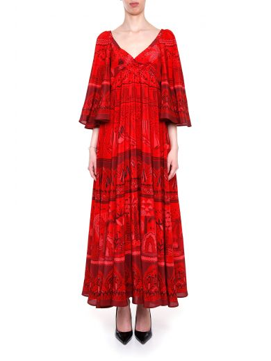 The Garden of Earthly Delights-print silk dress
