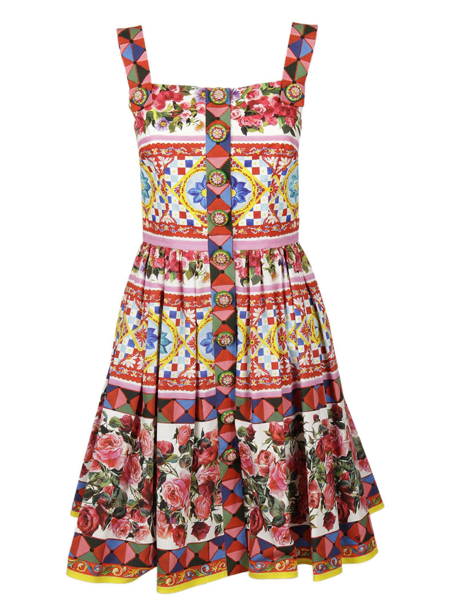 Dolce & Gabbana Majolica Rose Print Dress