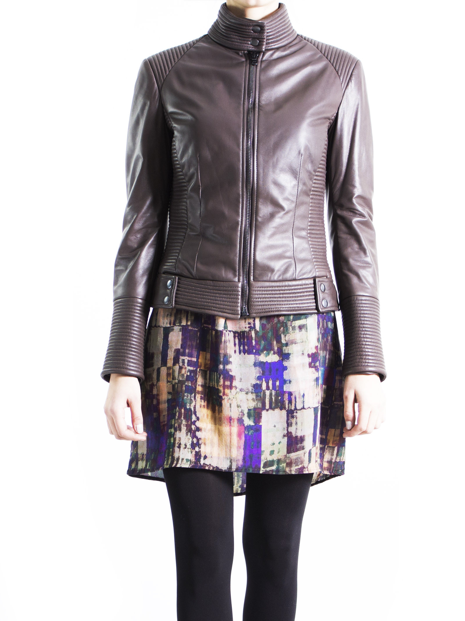 Leather Collection 'Lamb - Ovis aries' Brown Biker Jacket