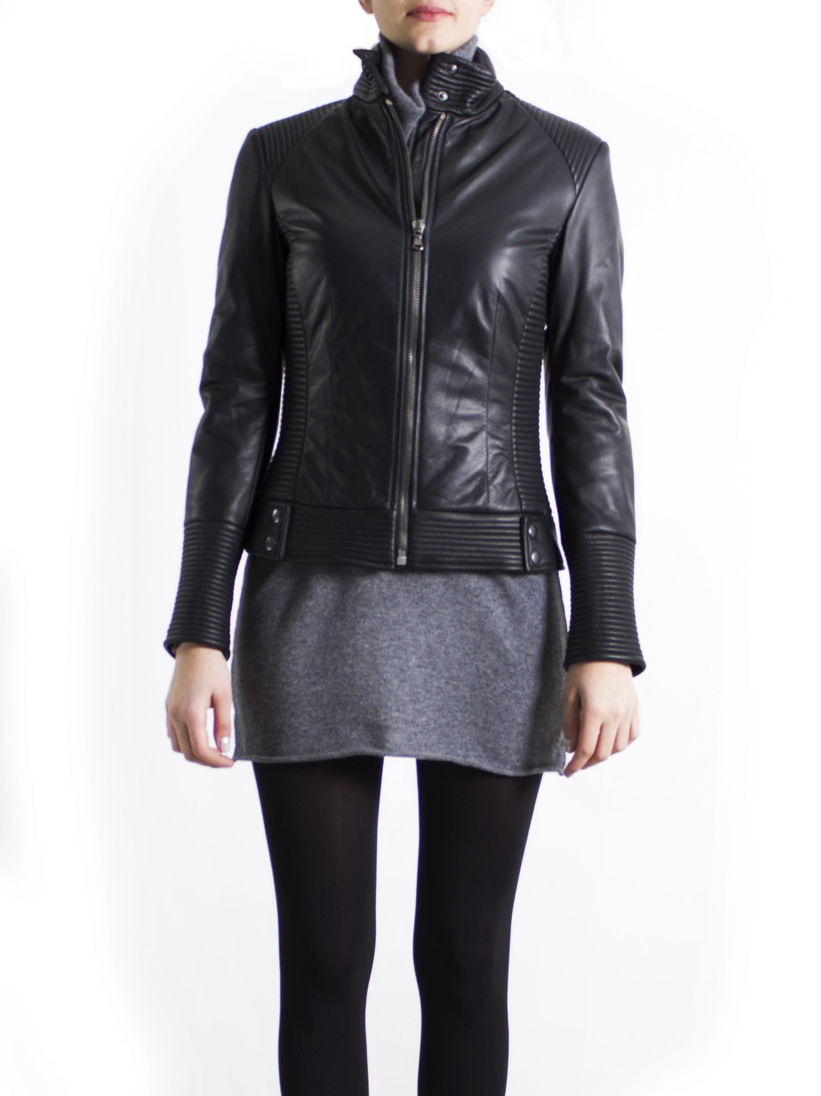 Leather Collection 'Lamb - Ovis aries' Black Biker Jacket