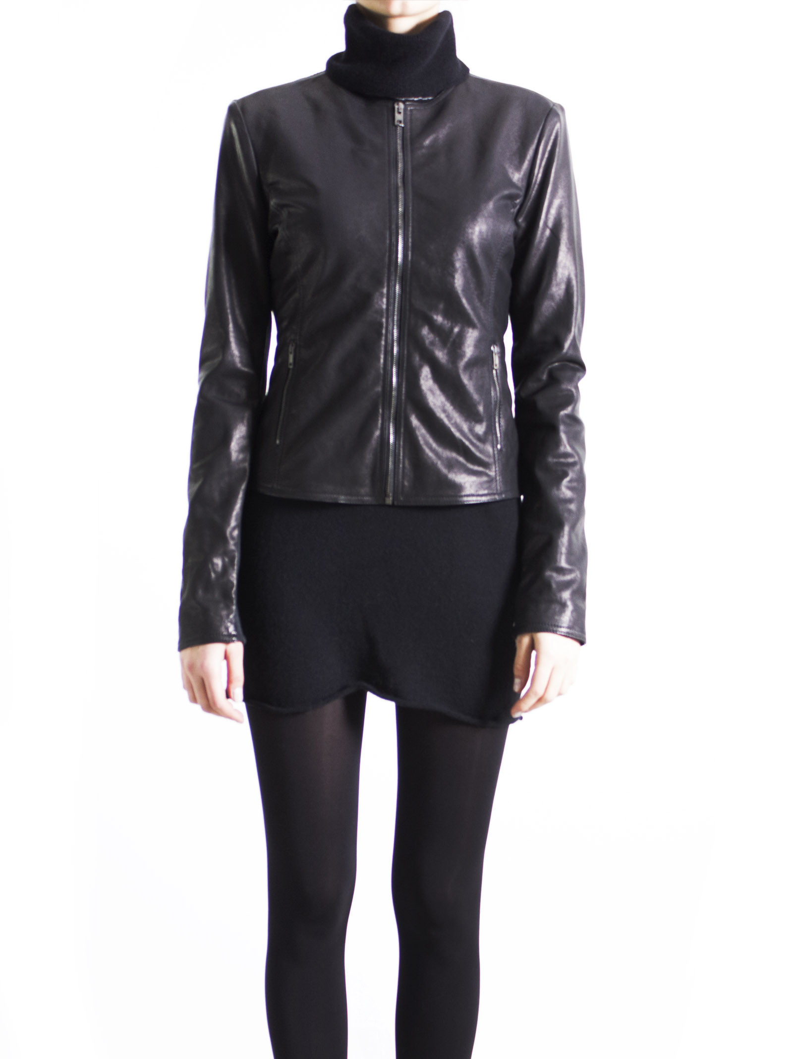 Leather Collection Black Knit-Back Jacket