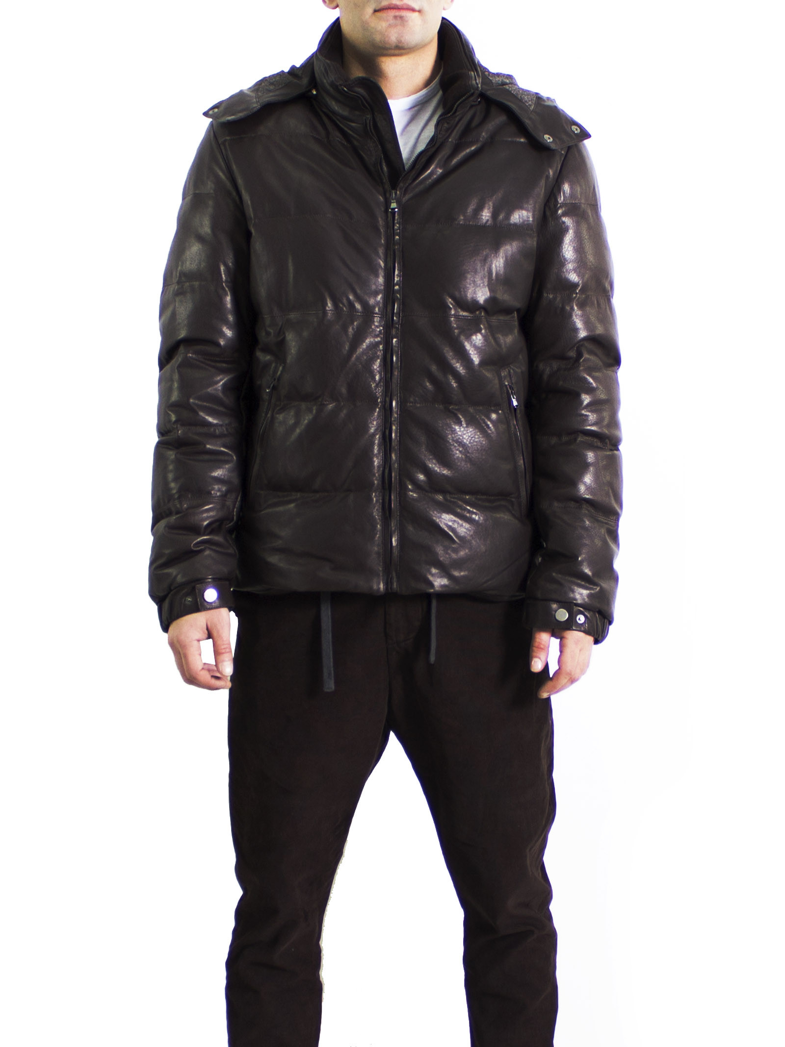 Leather GOOSE DOWN Collection 'Lamb - Ovis aries' Hooded Quilted Parka