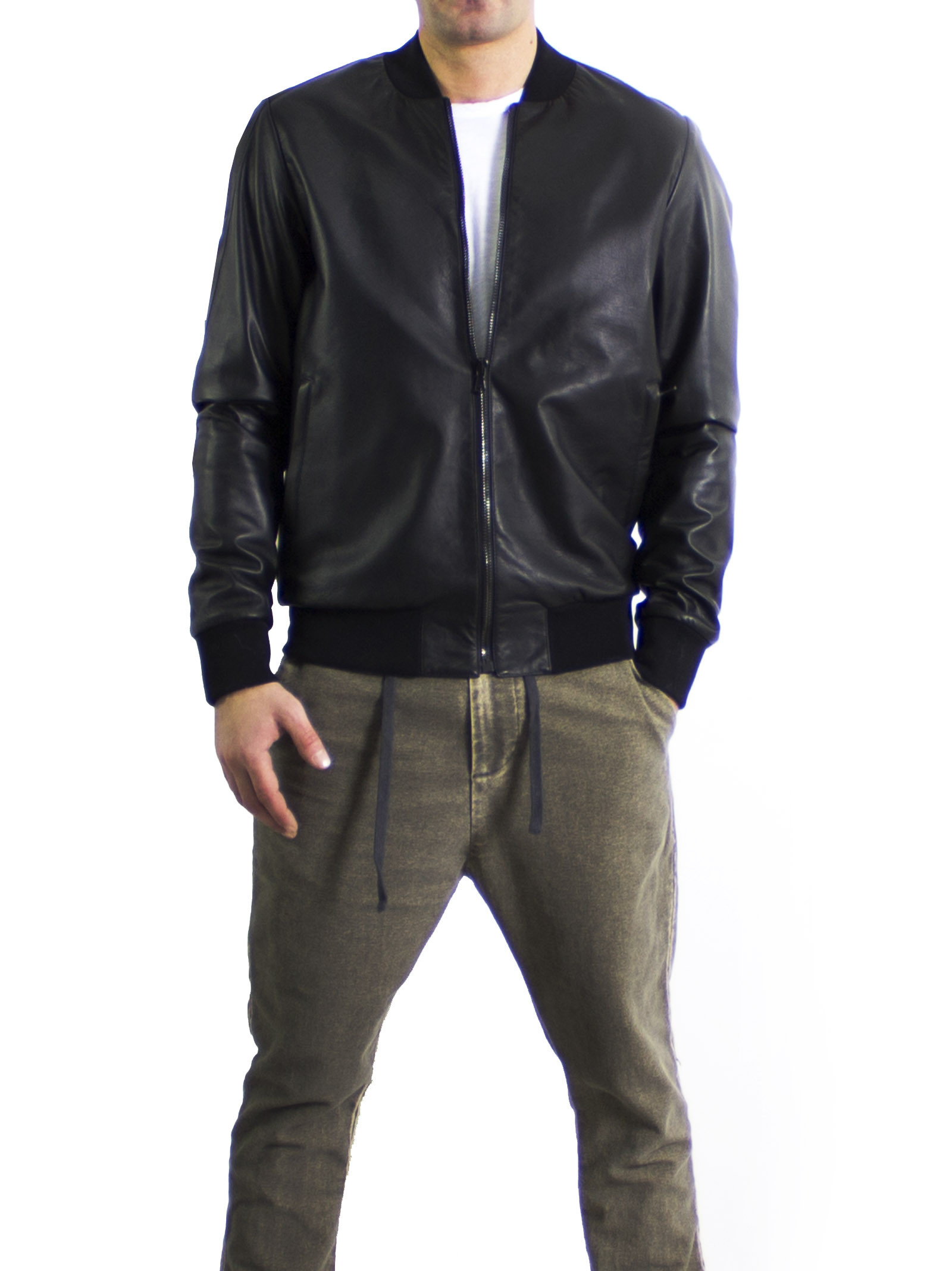 Leather Collection 'Lamb - Ovis aries' Black Bomber Jacket