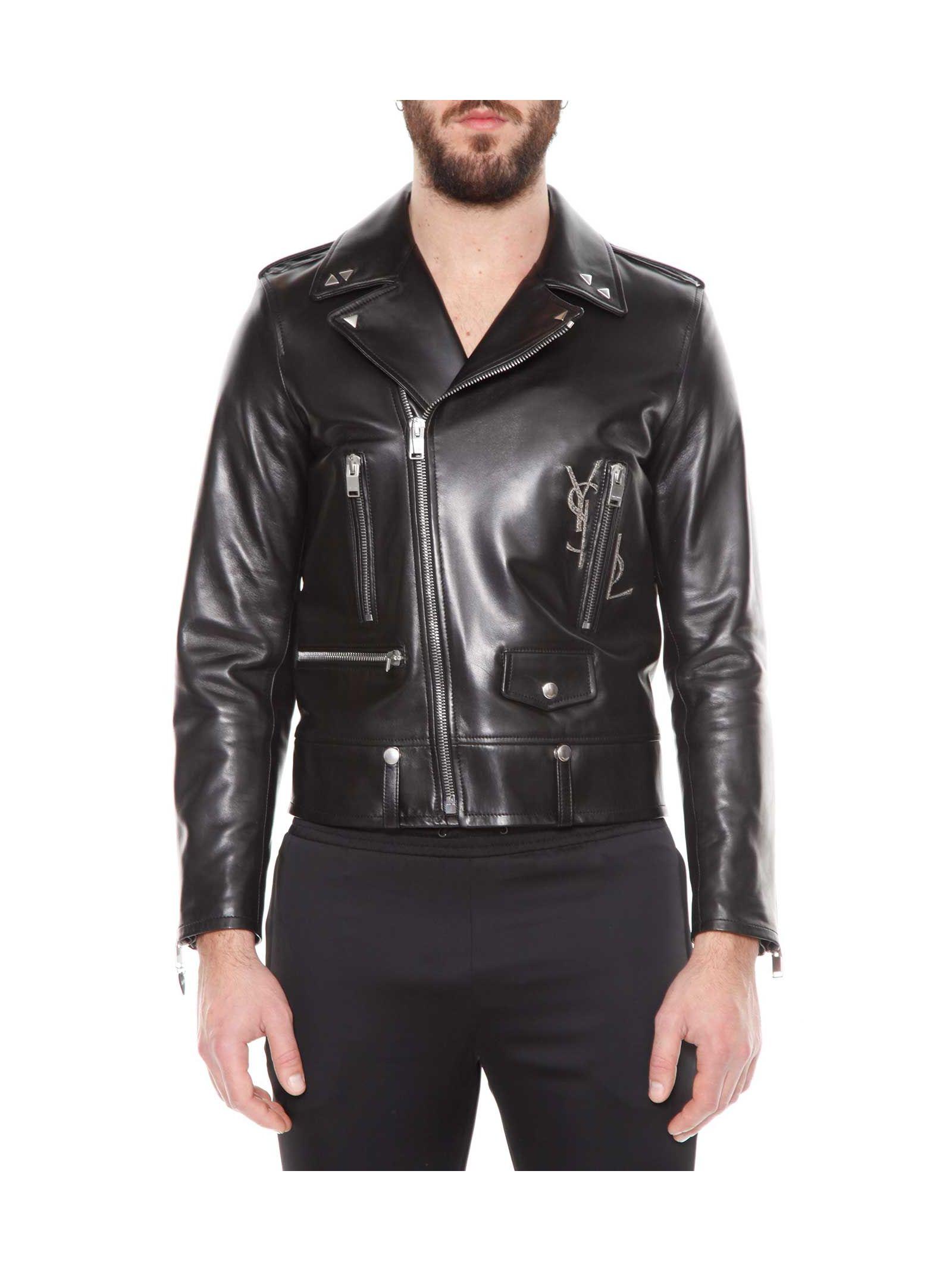 Saint Laurent Classic Motorcycle Leather Ysl Jacket