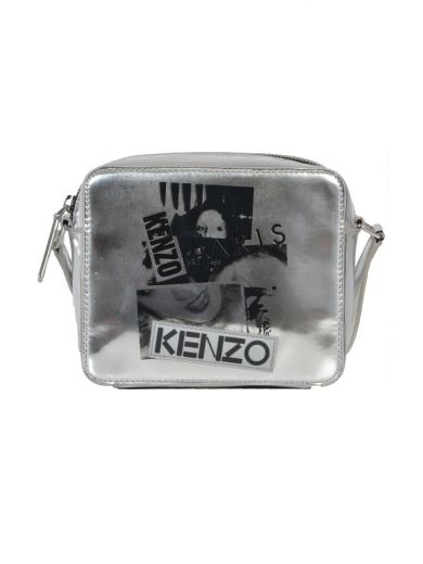 KENZO Metallic Leather Shoulder Bag With Print at Italist.com
