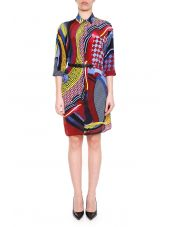 Energy Wave Print Silk Dress