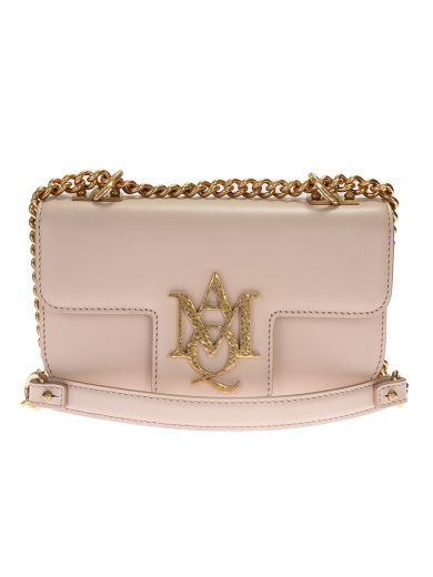 ALEXANDER MCQUEEN Nude Leather Insignia Satchel Bag at Italist.com