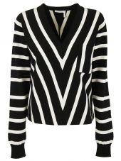 Chloe V-striped Pullover