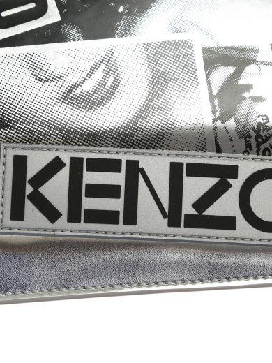 KENZO Silver Pvc Clutch With Blacklogo