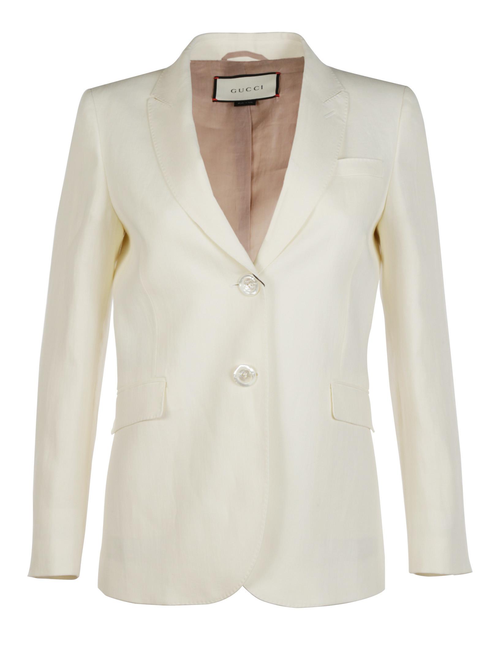 gucci female gucci canvas linen blazer