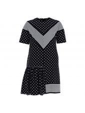 Black Polka Dots Pleated Dress
