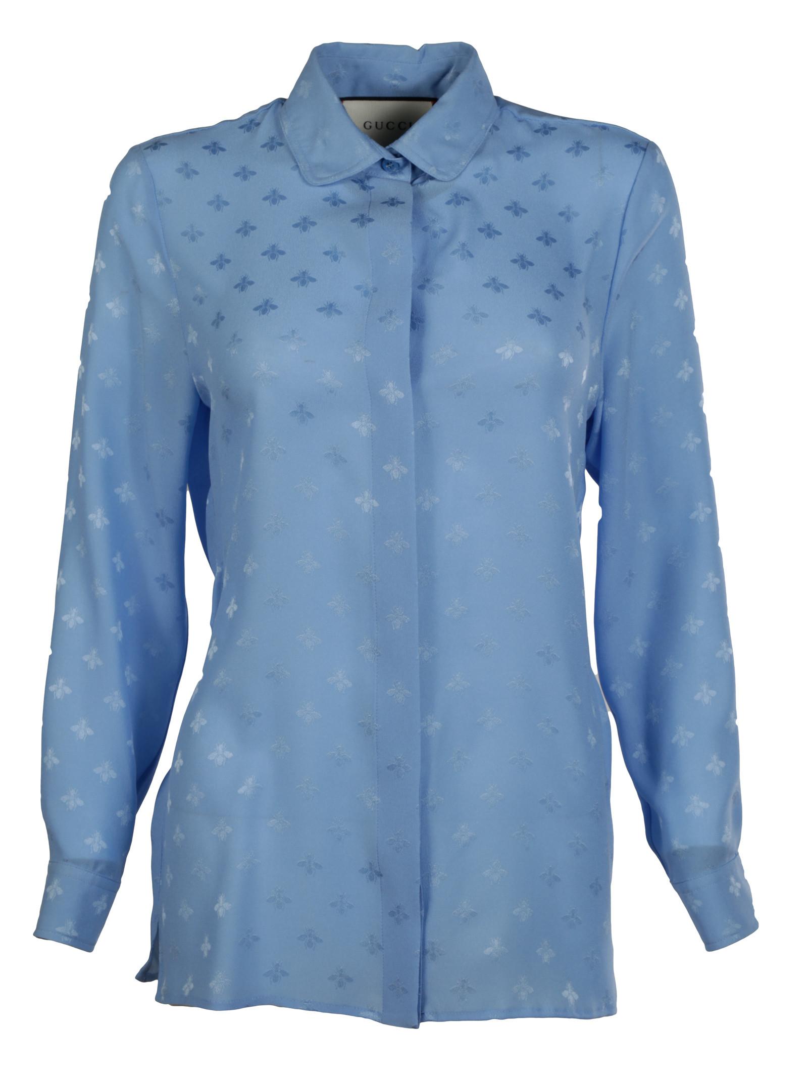 gucci female 201959 gucci bee jacquard silk shirt