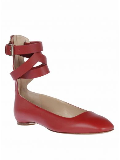 VALENTINO Lace-Up Ankle Straps Ballerinas in Rosso