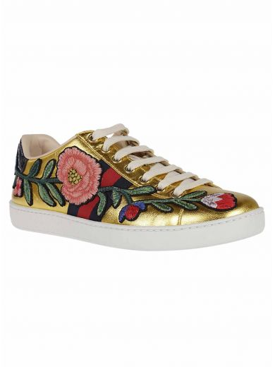GUCCI Ace Watersnake-Trimmed Appliquéd Metallic Leather Sneakers in Gold Leather