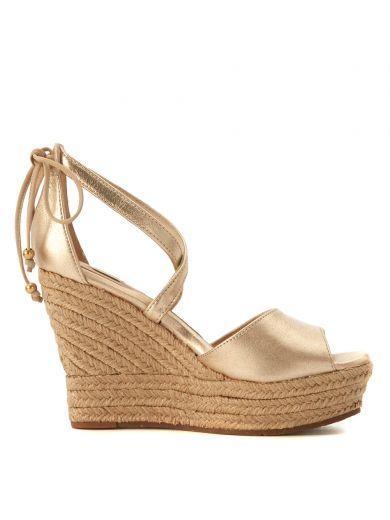 UGG Ugg Model Reagan Golden Leather Wedge Sandal