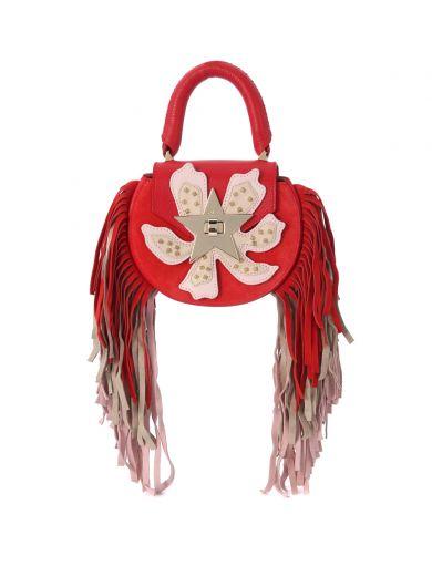 SALAR Salar Mimi Paradise Red Leather And Suede Handbag