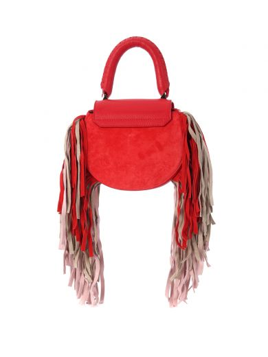 SALAR Mimi Paradise Red Leather And Suede Handbag in Rosso