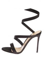 Black Silk Satin Warp Around Sandals