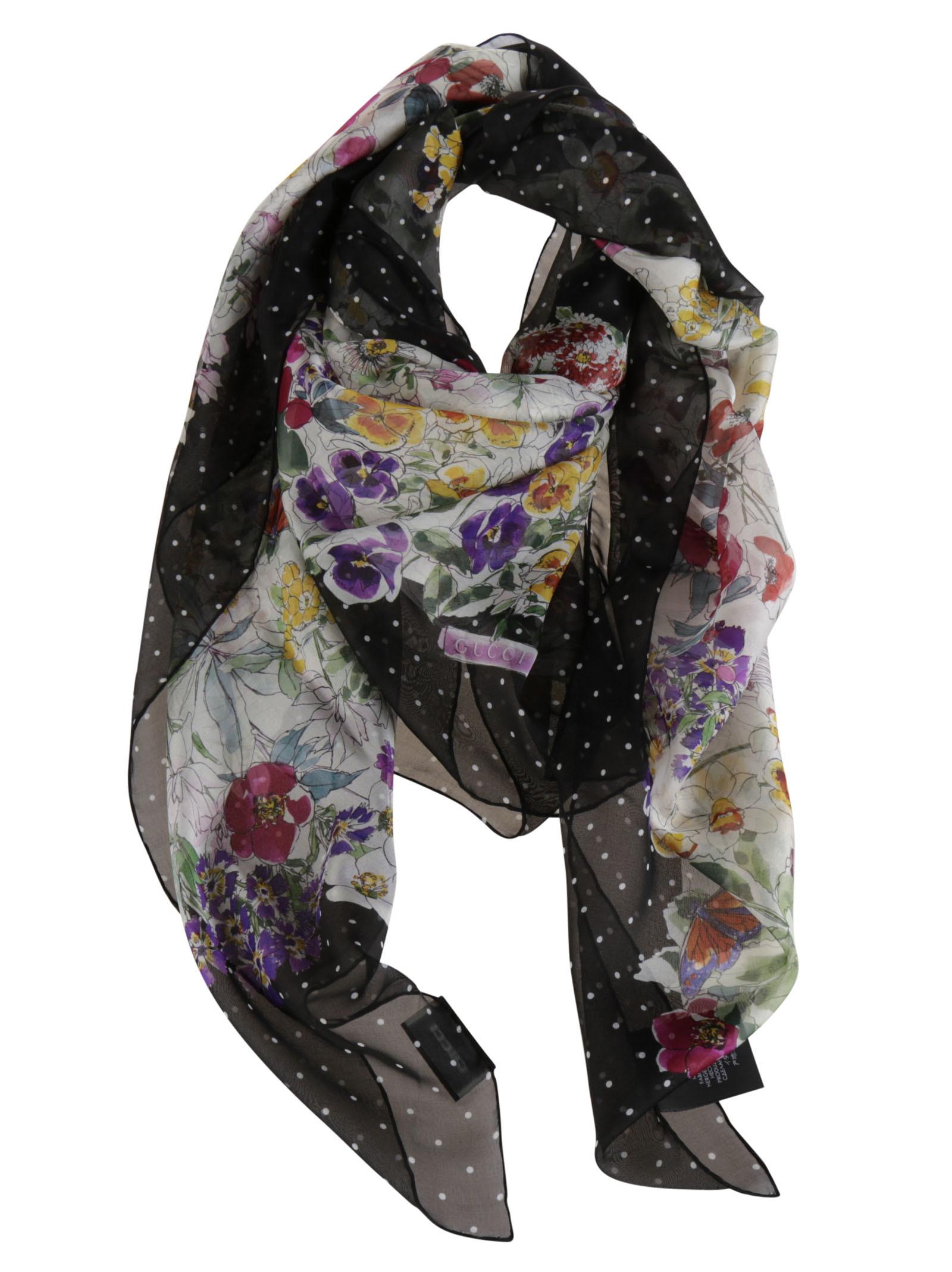 gucci female 46325 gucci silk chiffon floral print scarf