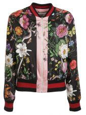 Gucci: White Floral Snake Print Bomber Jacket