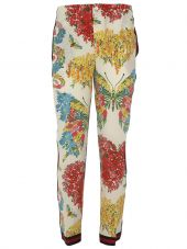Gucci: White Corsage Print Trousers