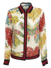 Gucci: White Corsage Print Shirt
