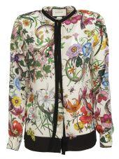 Gucci: White Floral Snake Print Shirt