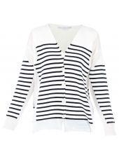 White Navy Striped Cardigan
