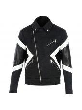 Chalk Panelled Biker Jacket