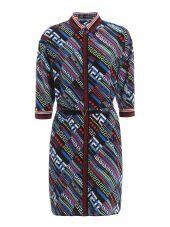 City Lights Print Silk Belted Dress