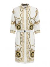 Baroque Print Silk Belted Dress