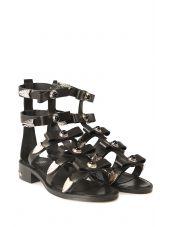 Toga Studded Leather Bow Sandal