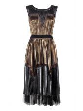 Bcbg Max Azria Lucea Pleated Metallic Dress